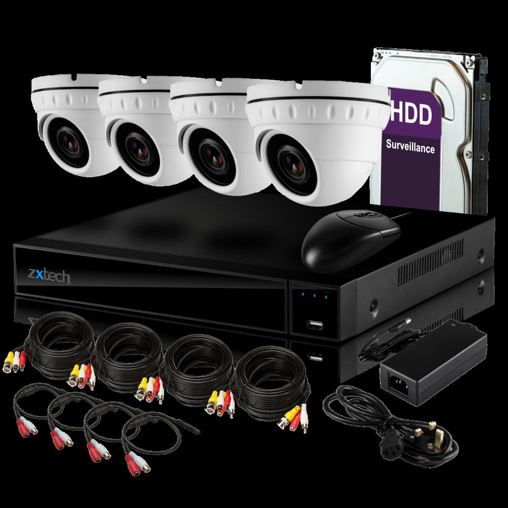 4 x Zxtech Motorised HD 1080p CCTV Camera 4 CH Hybrid DVR Complete CCTV  High Definition System