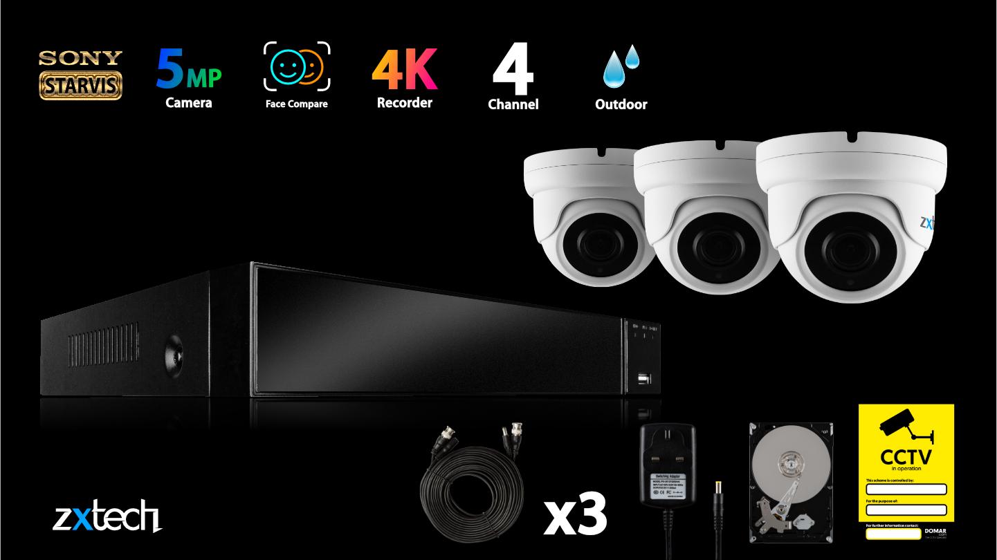 5MP AHD CCTV Kit Waterproof CCTV DVR HD Analog Camera IR   AF3A4Z