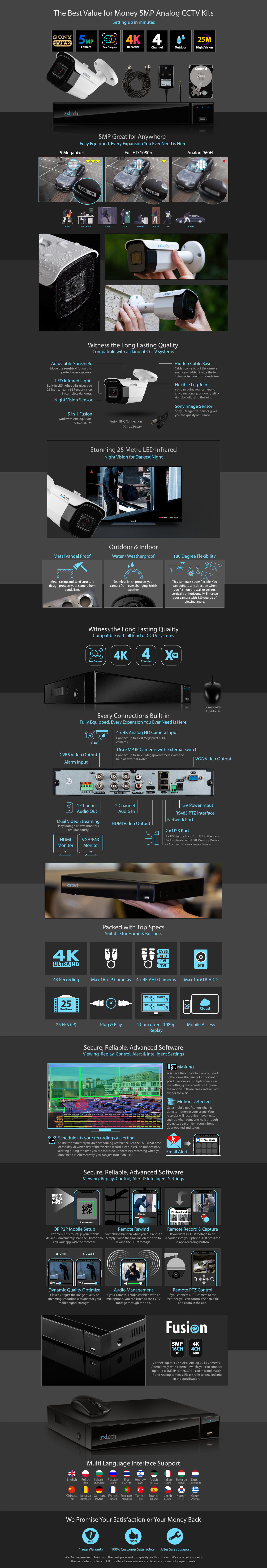 5MP AHD CCTV System All-in-One DVR HD Analog Camera Outdoor Infrared | AF2C4Z