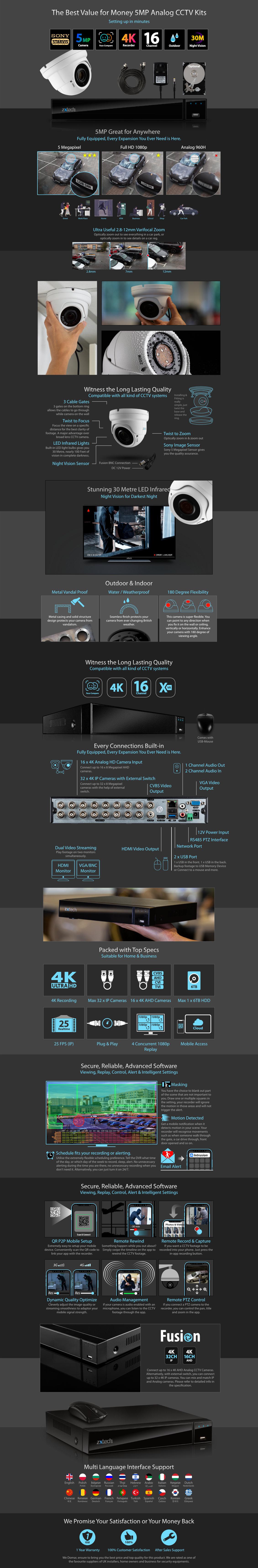 5MP AHD Camera System Home Digital Recorder HD Analog Camera Waterproof Varifocal | AF15D16X