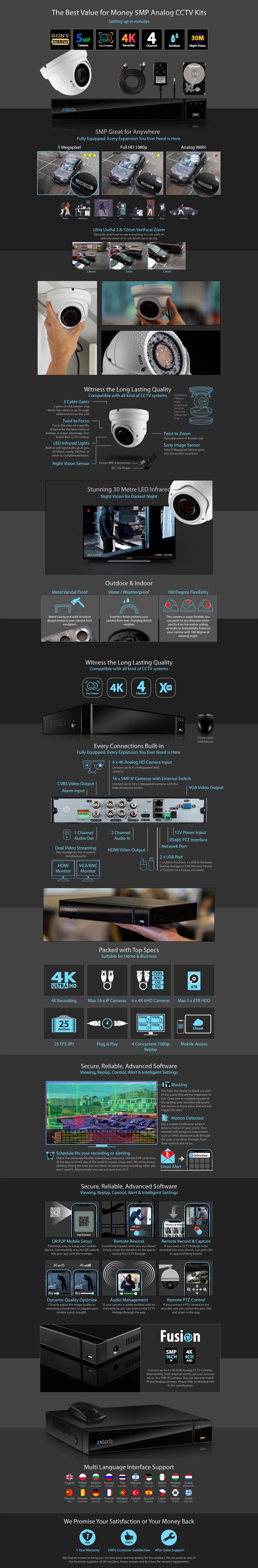 5MP AHD CCTV System Complete DVR HD Analog Camera Waterproof Varifocal | AF1D4Z