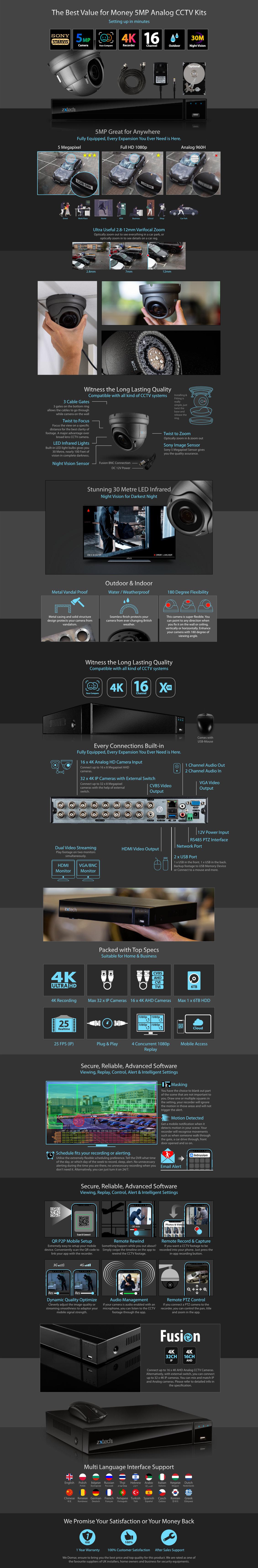 5MP AHD Camera System Digital Recorder HD Analog Camera Vandal-proof Zoom IR | AF14E16X