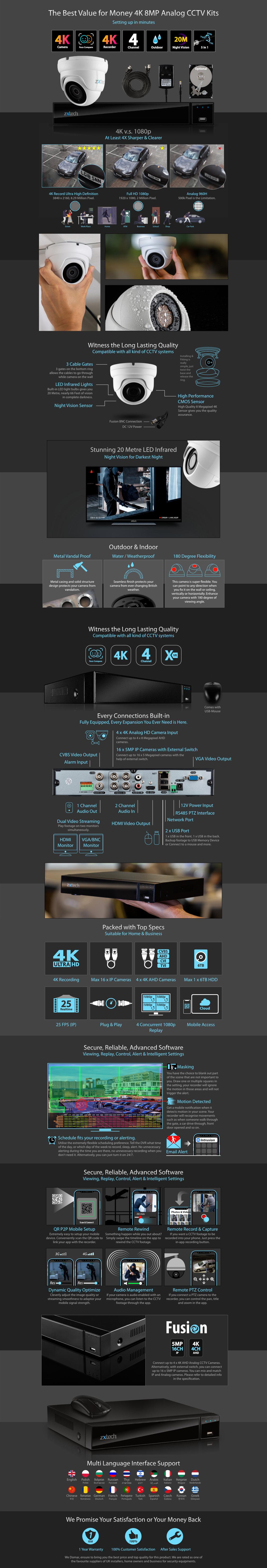 Zxtech 3x 8MP 4K-Lite UHD 20M Night Vision Dome Cameras 4CH DVR CCTV Kit   AX3A4Z