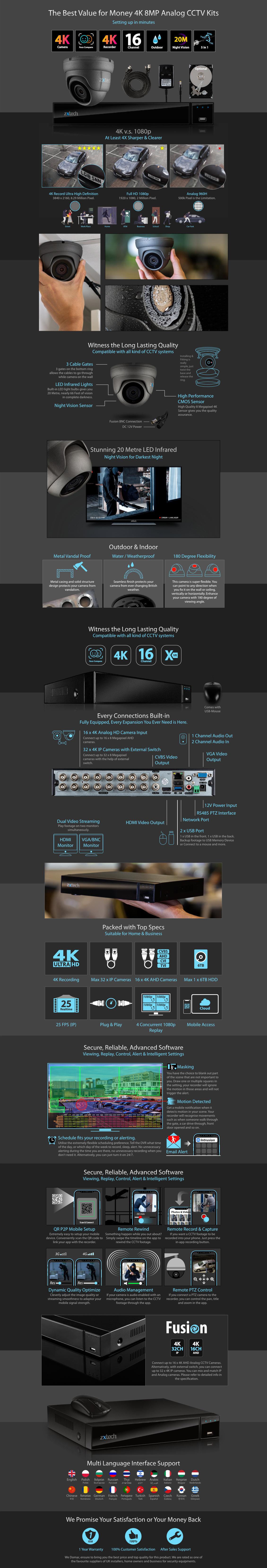 Zxtech 9x 8MP 4K-Lite UHD 20M Night Vision Dome Cameras 16CH DVR CCTV Kit | AX9B16X