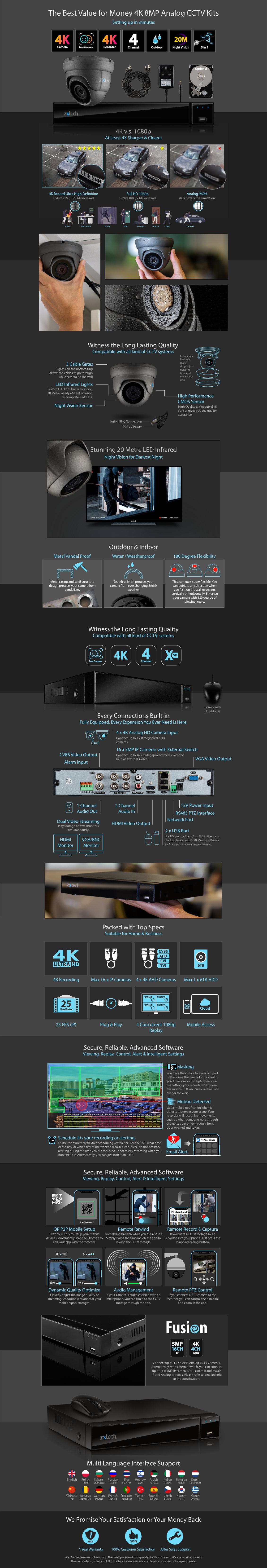 Zxtech 4x 8MP 4K-Lite UHD 20M Night Vision Dome Cameras 4CH DVR CCTV Kit | AX4B4Z