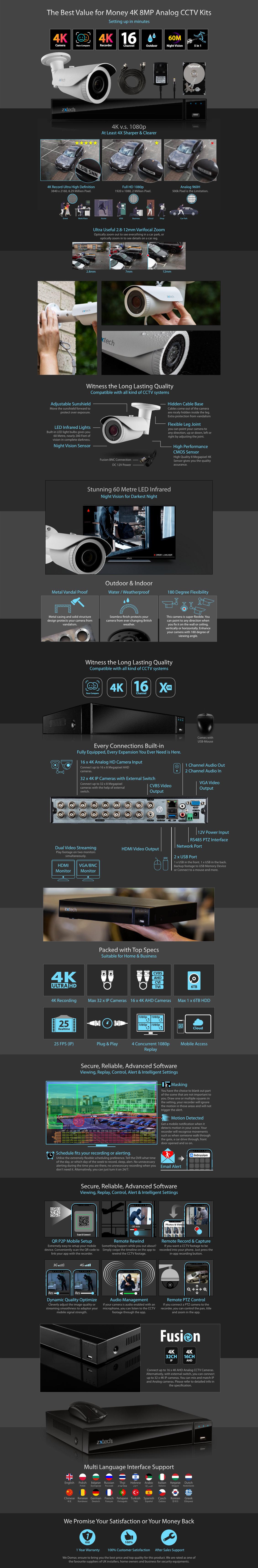 Zxtech 10x 8MP 4K-Lite UHD 60M Night Vision 2.8-12mm Varifocal Bullet Cameras 16CH DVR CCTV Kit | AX10F16X