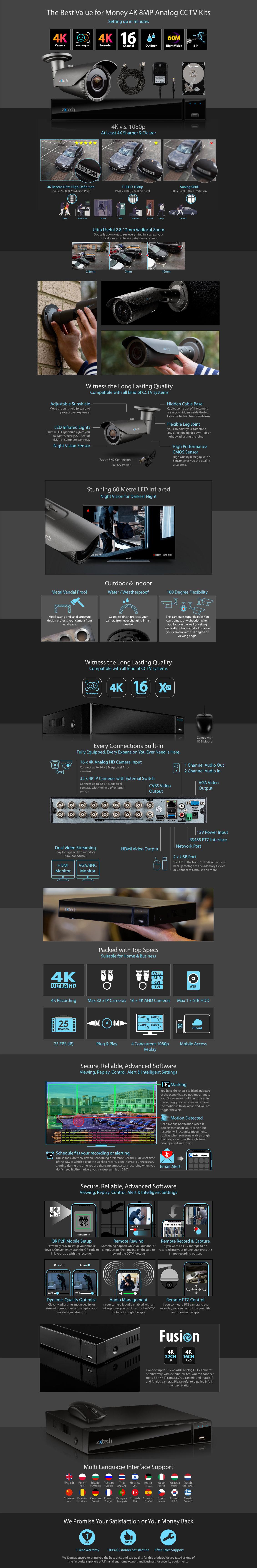 Zxtech 11x 8MP 4K-Lite UHD 60M Night Vision 2.8-12mm Varifocal Bullet Cameras 16CH DVR CCTV Kit | AX11G16X