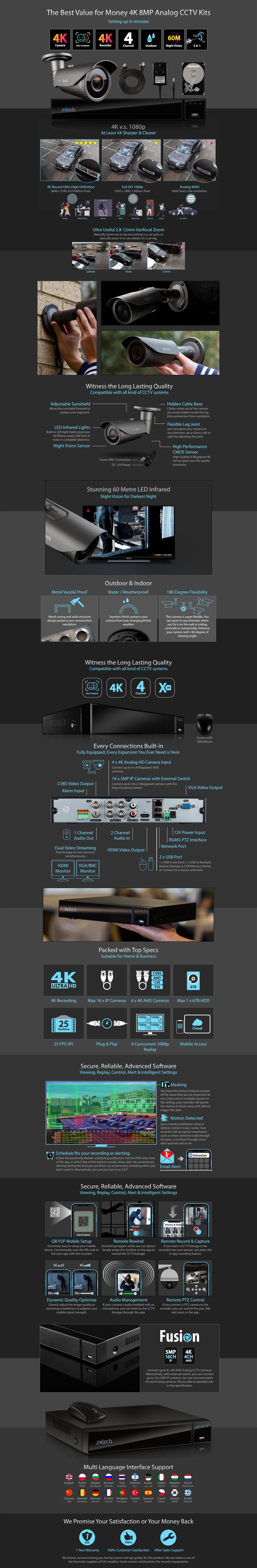Zxtech 4x 8MP 4K-Lite UHD 60M Night Vision 2.8-12mm Varifocal Bullet Cameras 4CH DVR CCTV Kit | AX4G4Z