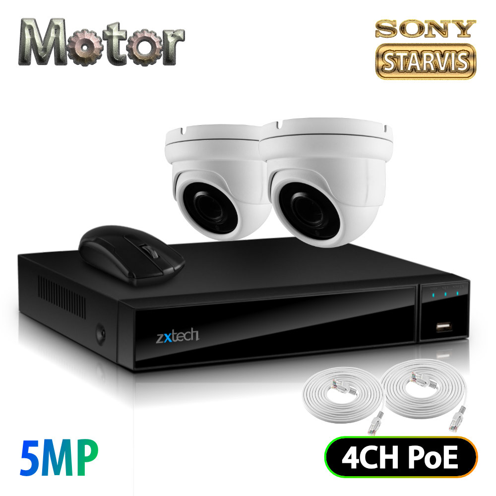 Zxtech 2x 5MP Motorized Lens Audio Sony Chip PoE CCTV Camera Outdoor Kit   FP2G4X