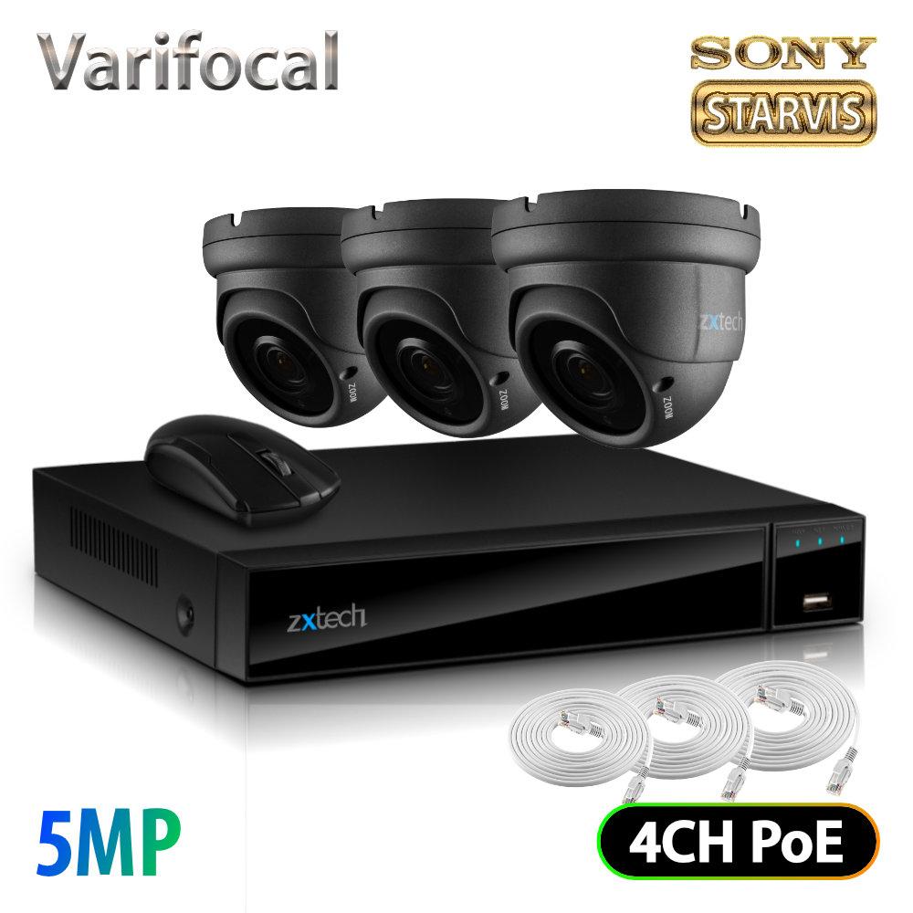 Zxtech 3 x 5MP Optical Zoom Audio Sony Chip Camera PoE CCTV NVR 4CH Kit   FP3B4X