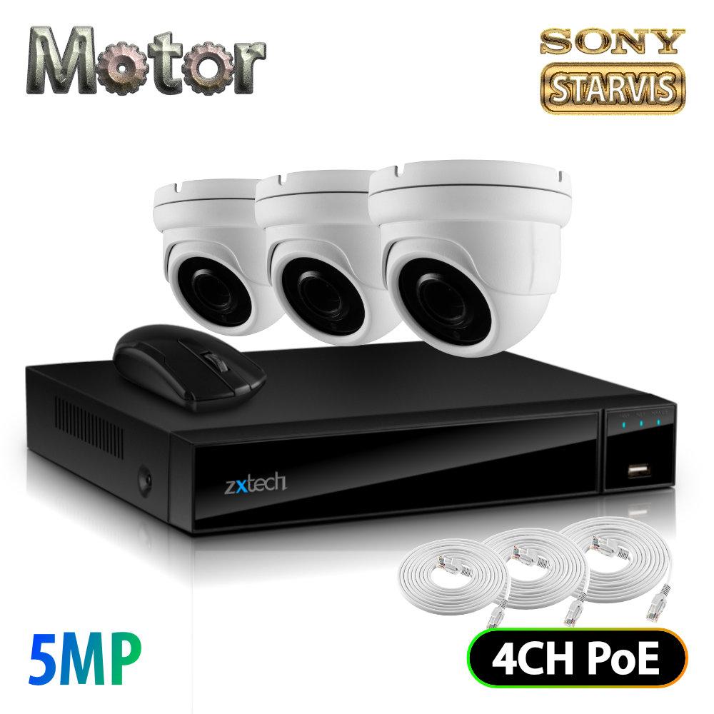 Zxtech 3x 5MP Motorized Lens Audio Sony Chip PoE Camera Kit 4CH NVR | FP3G4X