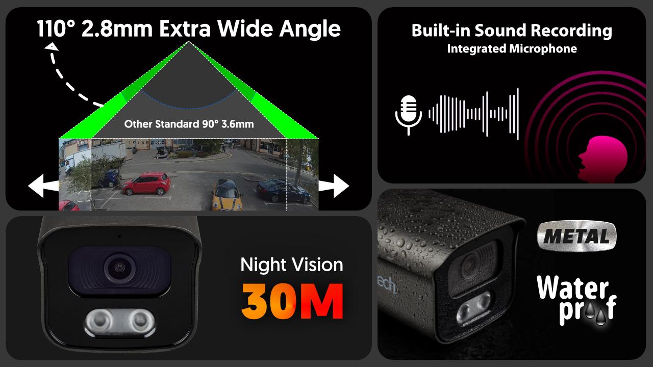 4K Smart CCTV Camera System Audio Recording HDR IP | Zxtech | RX5F9Y