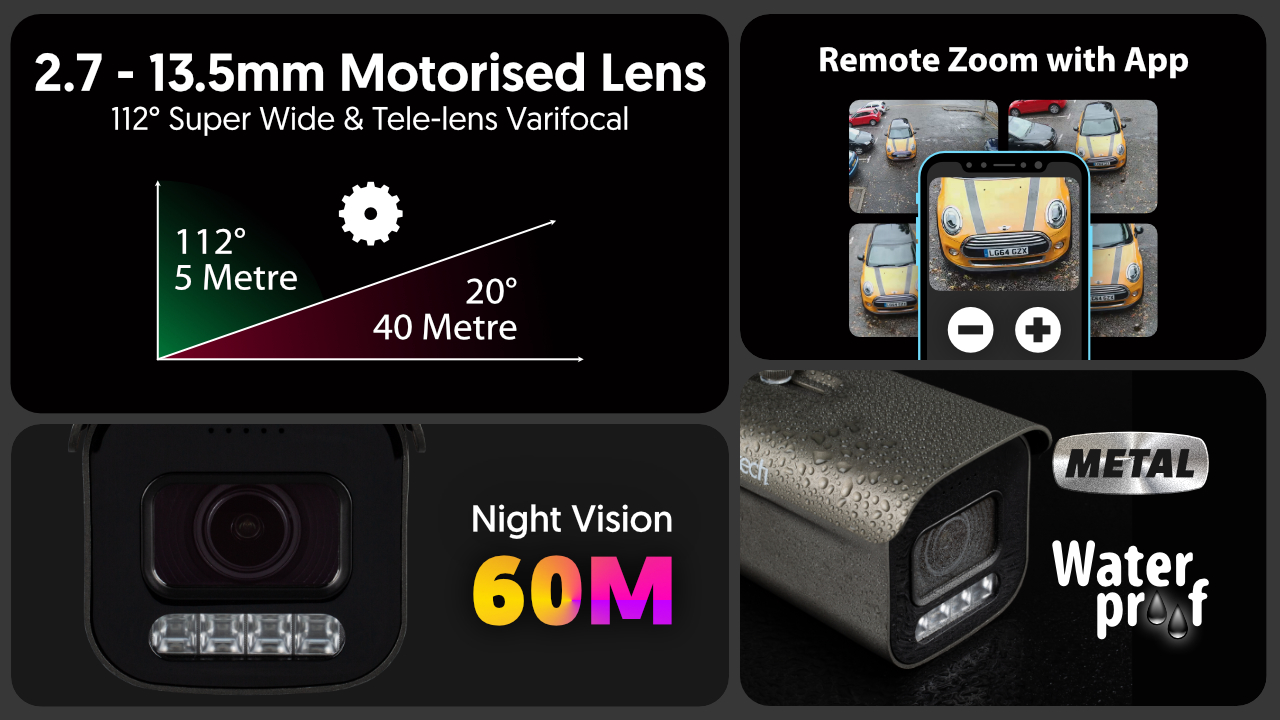 4K Home Security System Camera Auto Zoom 60M Night Vision | Zxtech | RX6H9Y