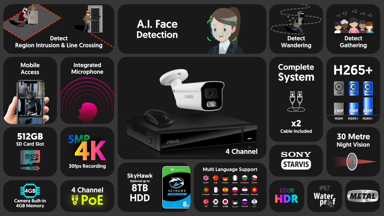 4K CCTV System Face Detection PoE Audio Camera Waterproof | Zxtech | RX1B4Z