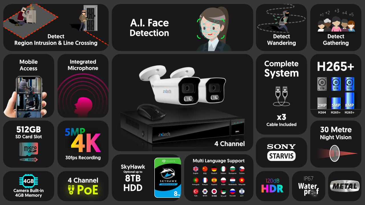 4K Home CCTV Kit Audio Face Detection IP Camera | Zxtech | RX2B4Z