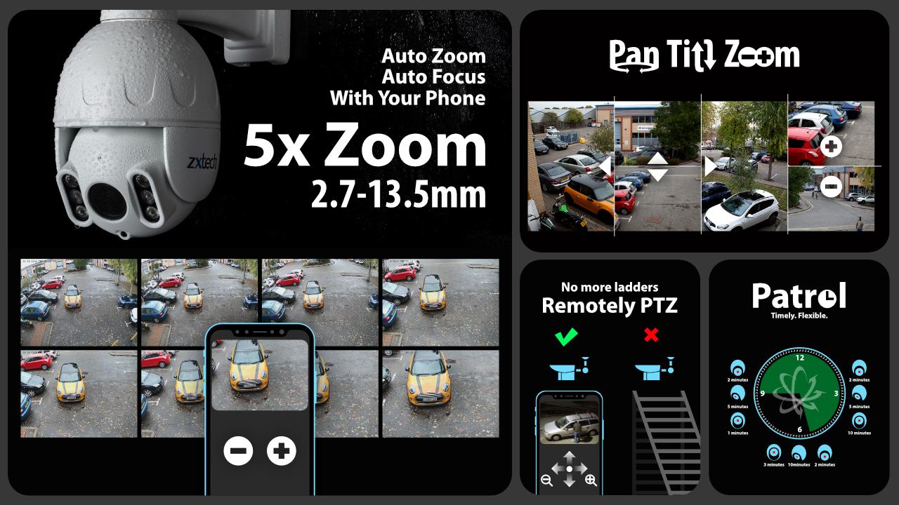 5mp ptz wifi camera system - 2 way audio 5x zoom sony starvis night vision 9ch nvr | wf8b9y