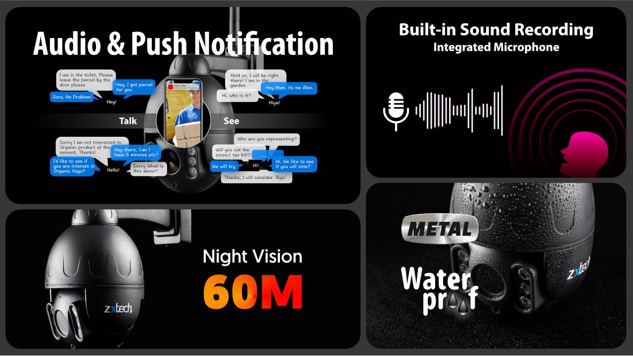 5mp ptz wireless cctv system - 2 way audio 5x zoom sony starvis night vision 9ch nvr | wf5e9y
