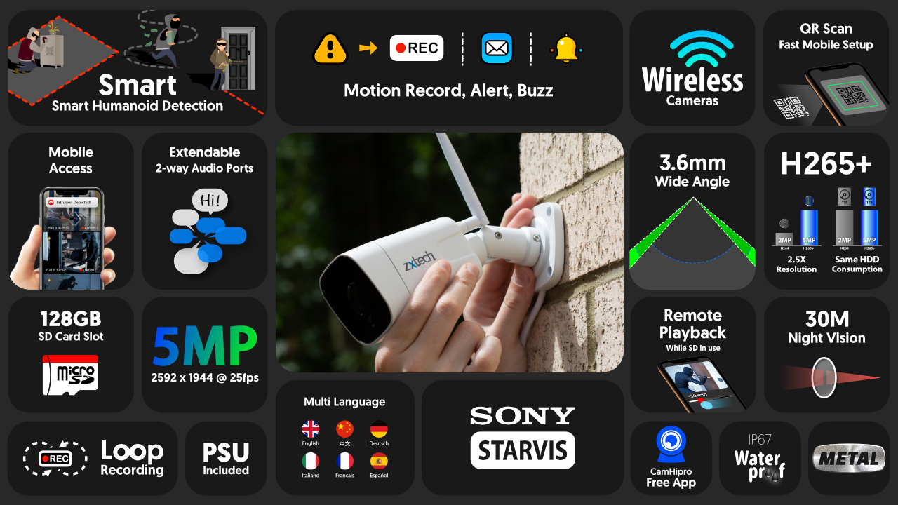 5mp home wifi security camera system - 2 way audio sony starvis outdoor 9ch nvr | wf4a9y