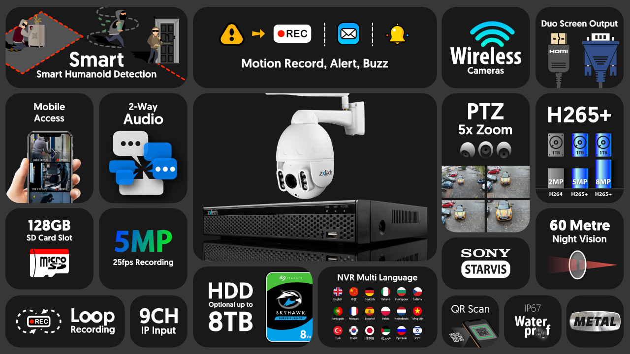 5mp ptz wifi security camera system - 2 way audio 5x zoom sony starvis outdoor 9ch nvr | wf1b9y