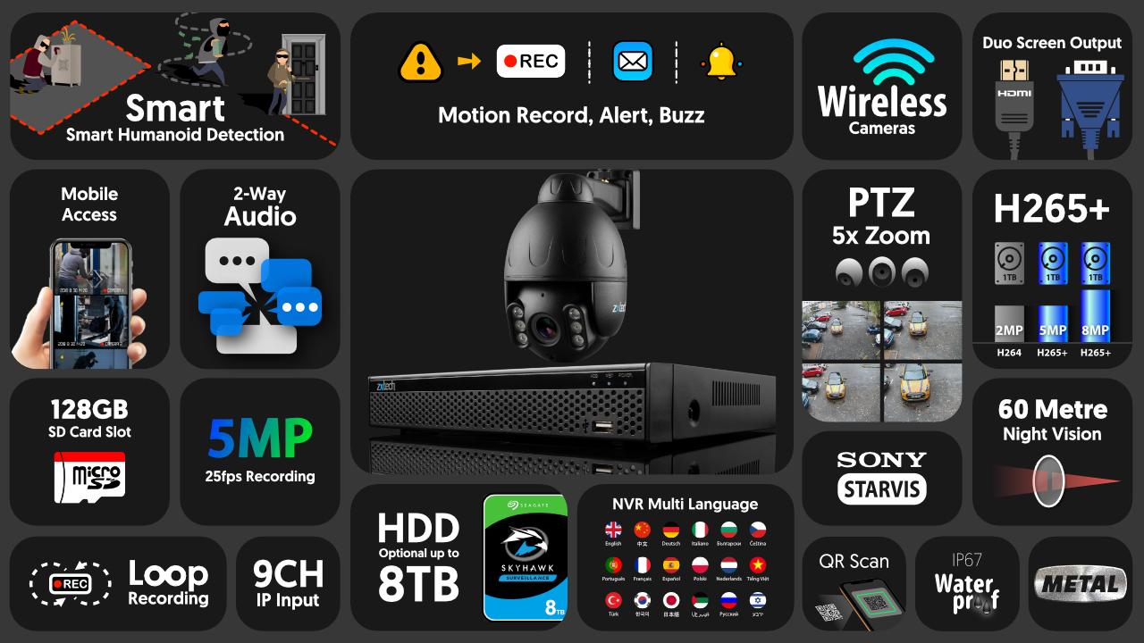 5mp ptz wireless cctv system - 2 way audio 5x zoom sony starvis night vision 9ch nvr | wf1e9y