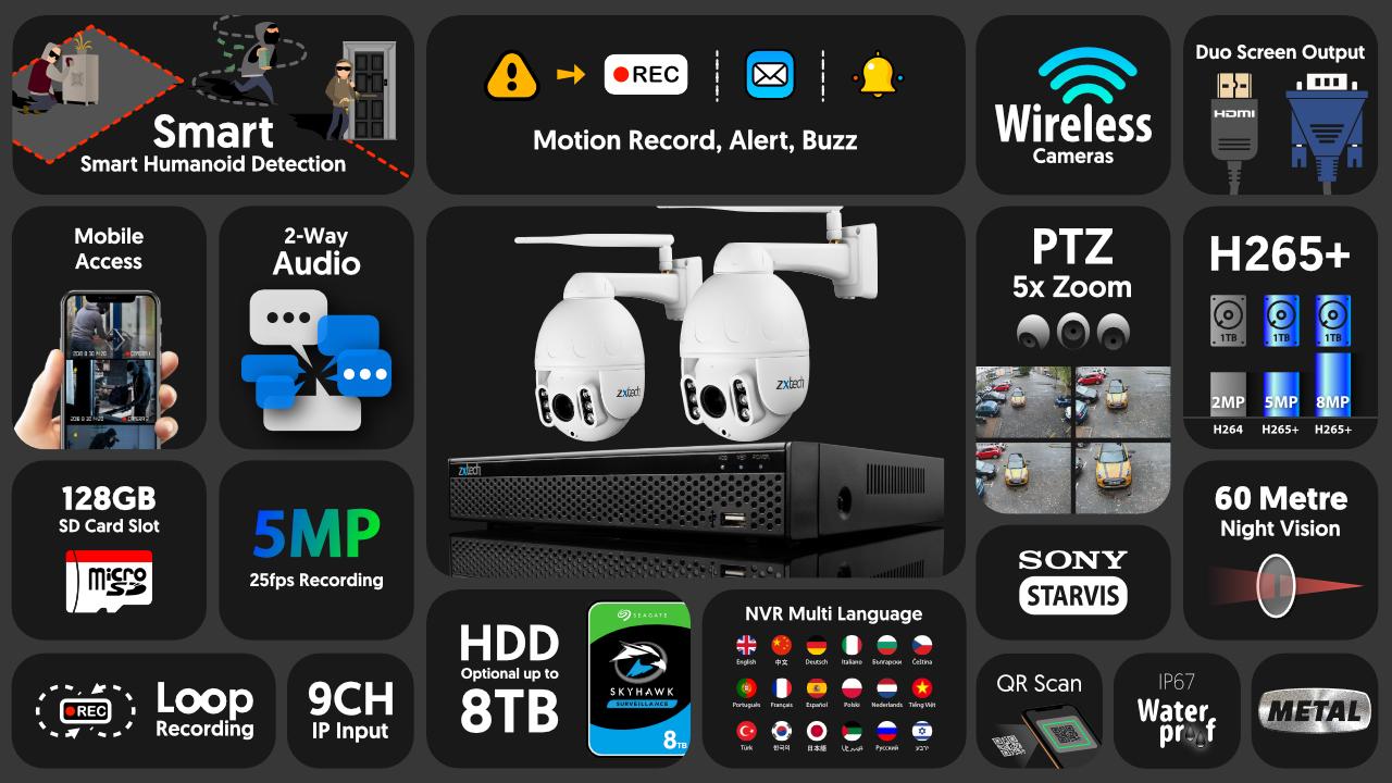 5mp ptz wireless cctv system - 2 way audio 5x zoom sony starvis night vision 9ch nvr | wf2b9y
