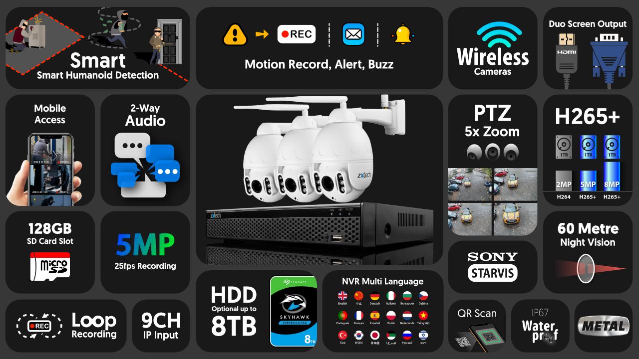 5mp ptz wireless camera system - 2 way audio 5x zoom sony starvis outdoor 9ch nvr   wf3b9y