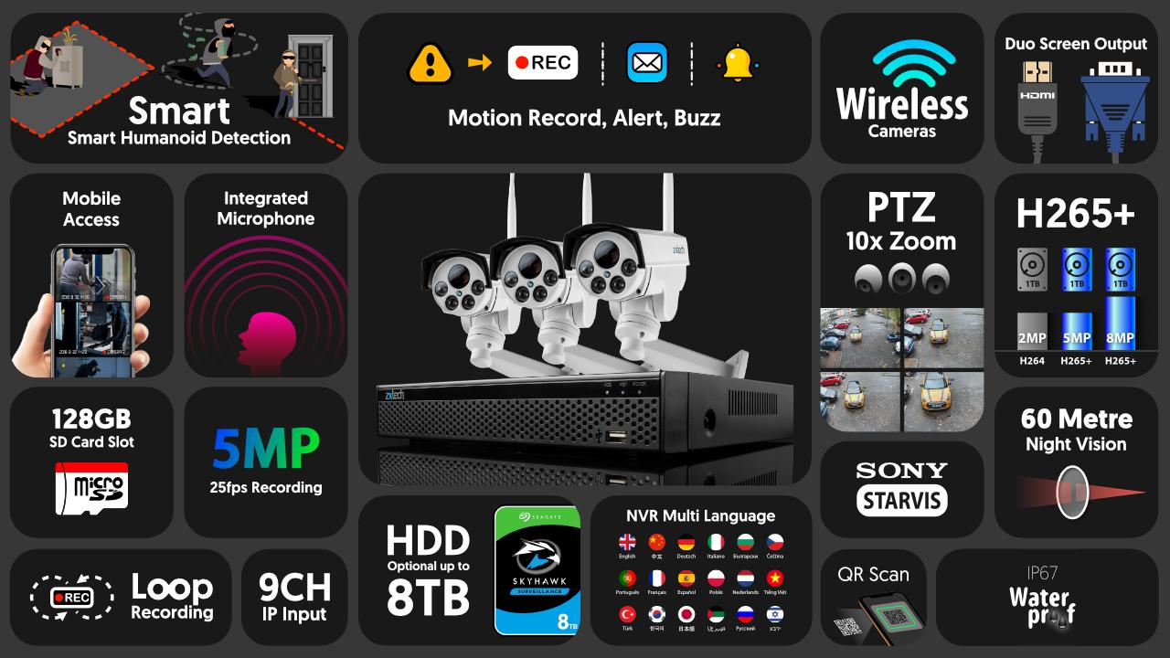5mp ptz wireless cctv system - audio recording 10x zoom sony starvis night vision 9ch nvr   wf3c9y