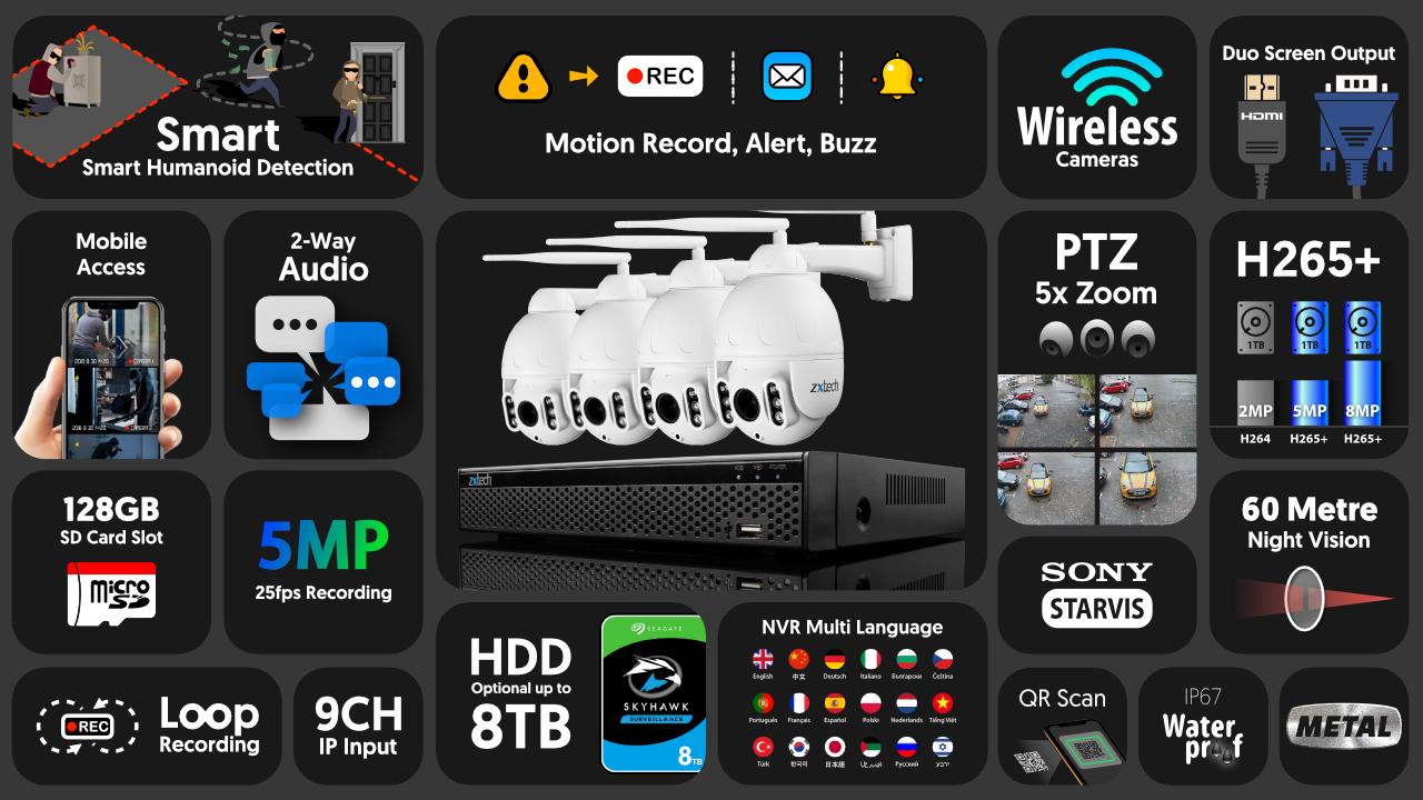 5mp ptz wifi camera system - 2 way audio 5x zoom sony starvis night vision 9ch nvr | wf4b9y
