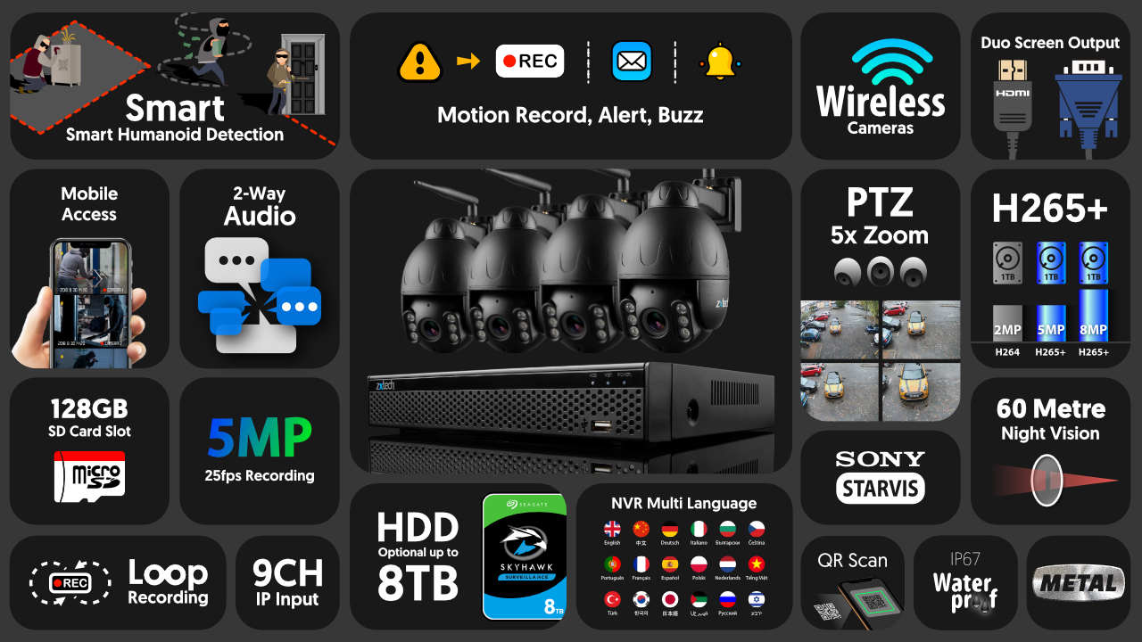 5mp ptz wifi camera system - 2 way audio 5x zoom sony starvis night vision 9ch nvr | wf4e9y