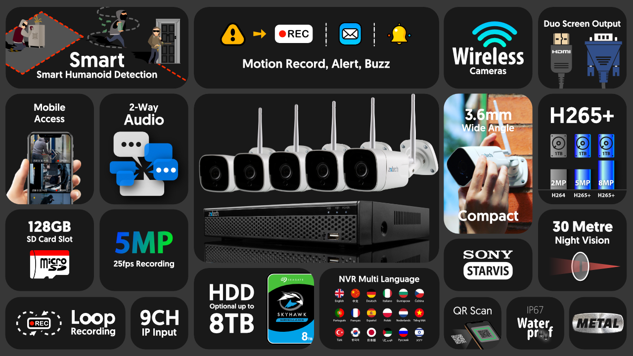5mp home wireless cctv system - 2 way audio sony starvis night vision 9ch nvr | wf5a9y