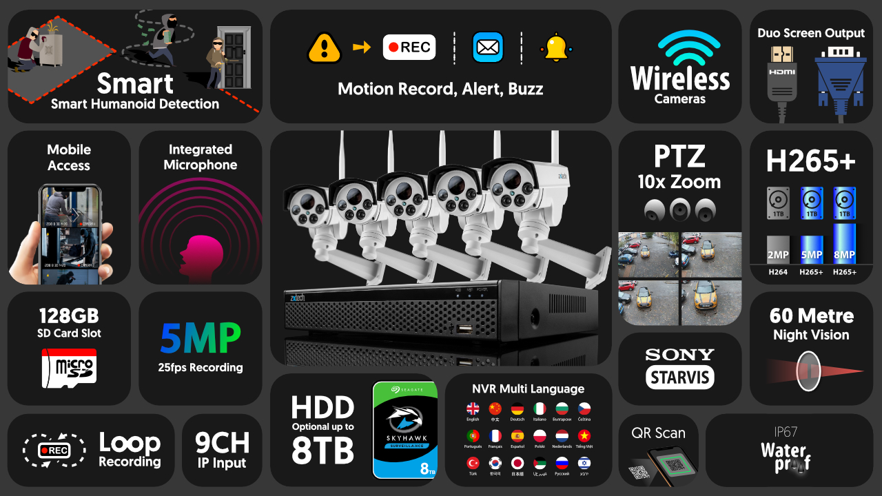 5mp ptz wifi camera system - audio recording 10x zoom sony starvis night vision 9ch nvr | wf5c9y