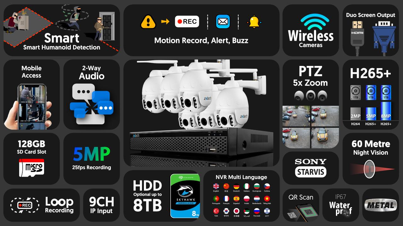 5mp ptz wireless cctv system - 2 way audio 5x zoom sony starvis night vision 9ch nvr   wf6b9y