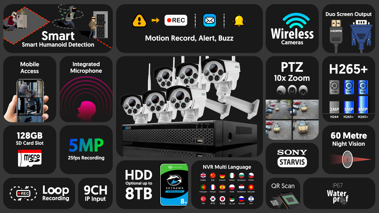 5mp ptz wifi security camera system - audio recording 10x zoom sony starvis outdoor 9ch nvr   wf6c9y