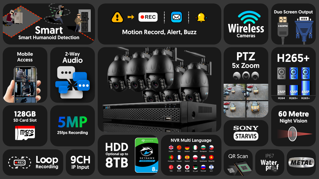 5mp ptz wifi camera system - 2 way audio 5x zoom sony starvis night vision 9ch nvr | wf6e9y