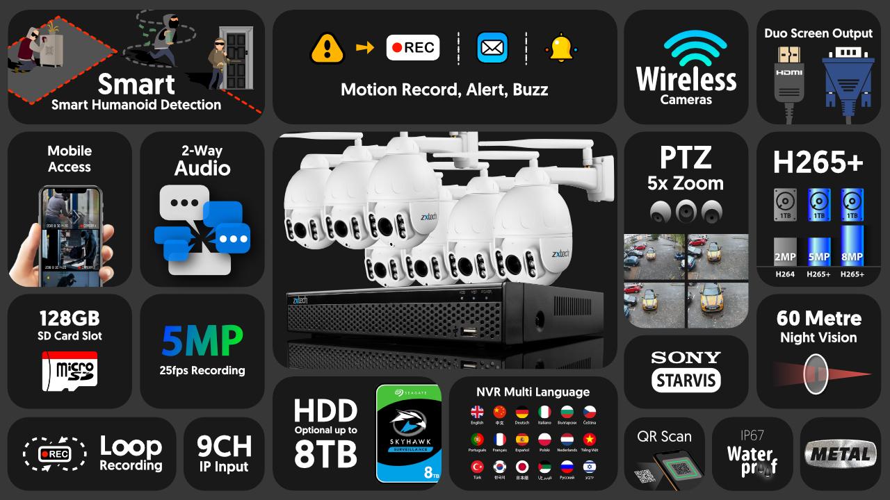 5mp ptz wireless camera system - 2 way audio 5x zoom sony starvis outdoor 9ch nvr | wf7b9y
