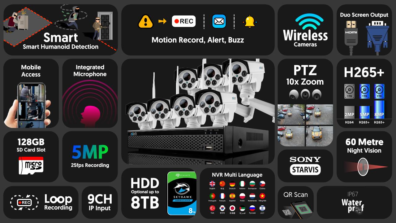 5mp ptz wireless cctv system - audio recording 10x zoom sony starvis night vision 9ch nvr   wf7c9y
