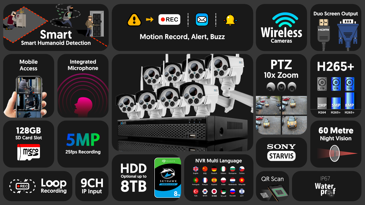 5mp ptz wireless camera system - audio recording 10x zoom sony starvis outdoor 9ch nvr | wf8c9y