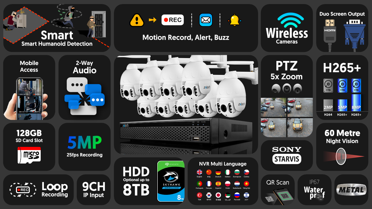 5mp ptz wifi security camera system - 2 way audio 5x zoom sony starvis outdoor 9ch nvr | wf9b9y