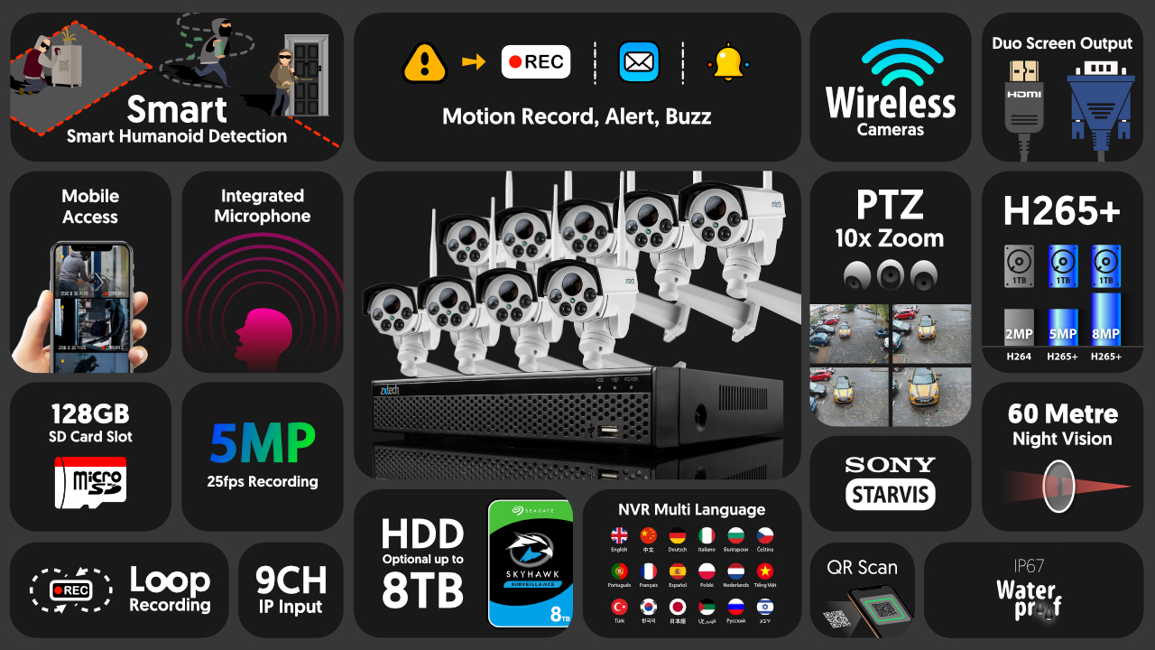 5mp ptz wifi camera system - audio recording 10x zoom sony starvis night vision 9ch nvr   wf9c9y